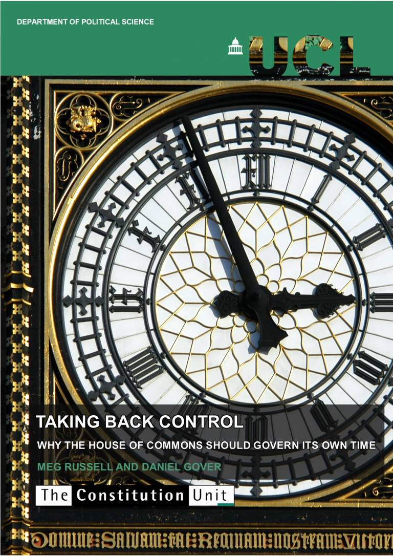 A picture of the front page of the Unit's report, Taking back control: why the House of Commons should govern its own time, including a picture of a clock