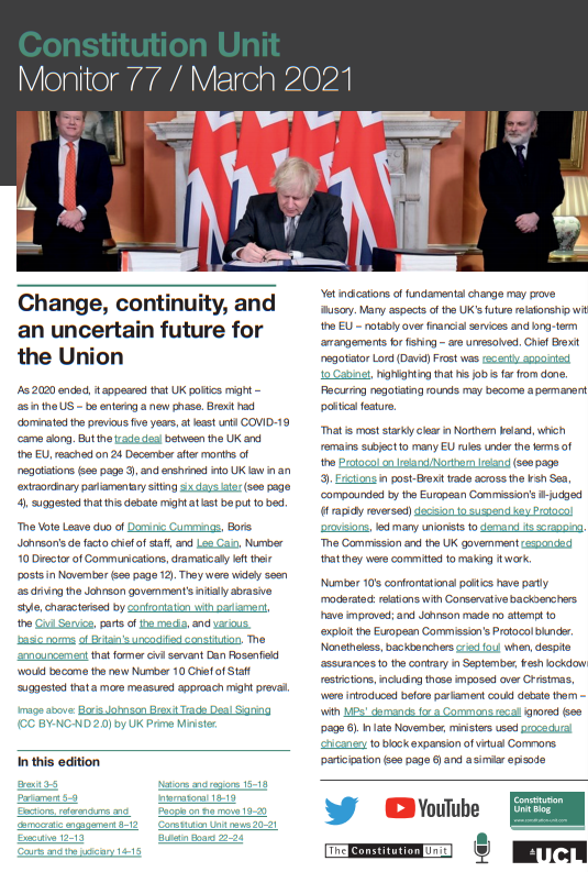 A picture of the front page of Monitor 77, including a picture of Boris Johnson signing the Brexit treaty